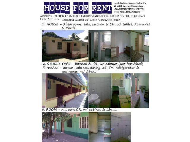 Wonderful APARTMENT FOR RENT (House, Studio Type, Room)