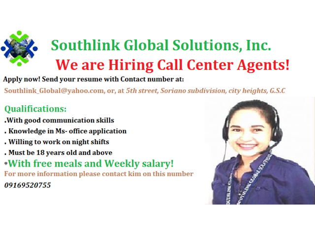 immediate hiring for call center agents  general santos